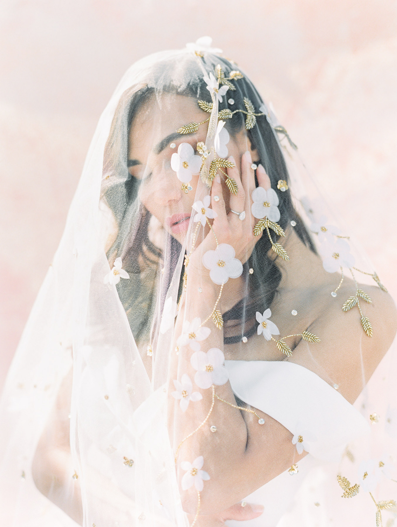Twigs and Honey gold floral embellished veil paired with Kelly Faetanini crepe sweetheart neck off the shoulder fit to flare gown from The White Flower. Cavin Elizabeth Photography - film photographer in San Diego.