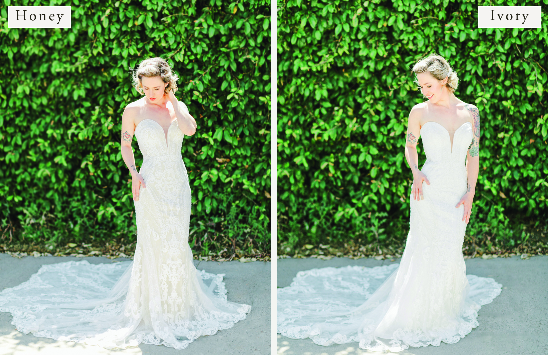 Martina Liana 1060: Same Gown in Two Different Lining Colors - Honey Vs Ivory