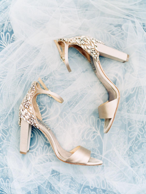 Sparkly champagne toned bridal block heels from Badgley Mischka. Wedding film photography at Jekyll Island Club Resort by Cavin Elizabeth Photography